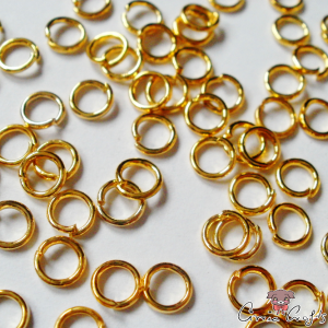 Jump rings / open / gold colored / 4mm / 10g