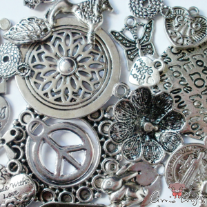 Charms / 100g mix pack / antique silver colored