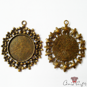 Setting for cabochons and rhinestones / antique bronze-colored
