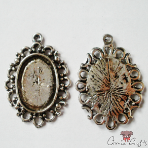 Setting for cabochons and rhinestones / oval / antique silver-colored