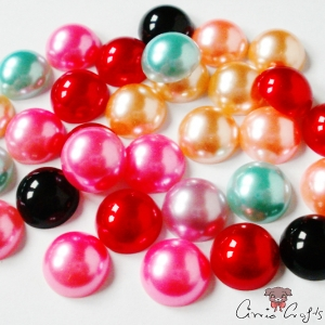 Half pearls / cabochons / mixed pack / 12mm / 20 pieces