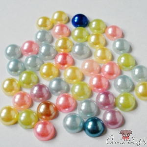 Half pearls / cabochons / mixed pack / 7mm / 20 pieces