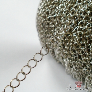 Twisted chain / 6mmx4,8mm / 1m / silver colored