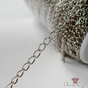 Twisted chain / 6mmx3mm / 1m / silver colored