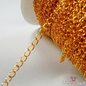 Twisted chain / 6mmx3mm / 1m / gold colored