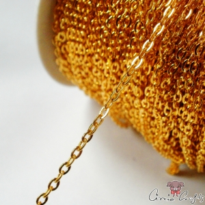 Cross chain / 3mmx2mm / 1m / gold colored