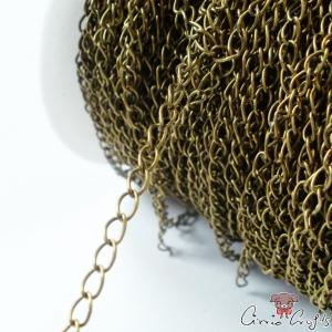 Verdrehte Gliederkette, 6mm lang, 3mm breit, 1m, Antik Bronze (TWC_001_AB)