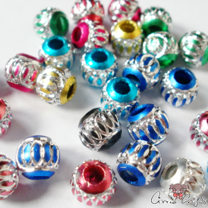 Aluminum beads / round / mixed pack / 6mm / 10 pieces