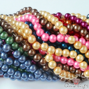 Glass beads / round / mixed pack / 8mm / 10 pieces