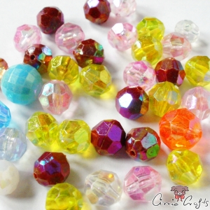 Acrylic beads / faceted / round / AB color / mixed pack / 20g