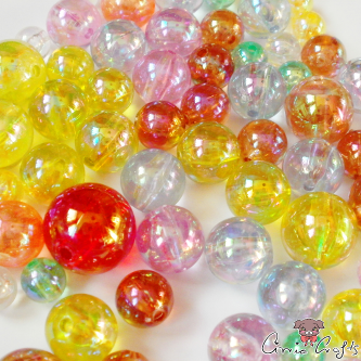 Acrylic beads / round / AB color / mixed pack / 20g