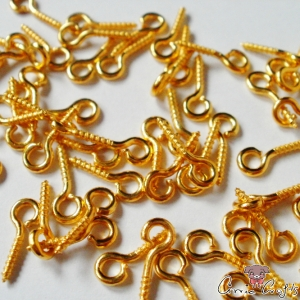 Screw eyepin / gold colored / 10mm / 20 pieces