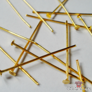 Headpins / gold colored / 28mm / 20 pieces