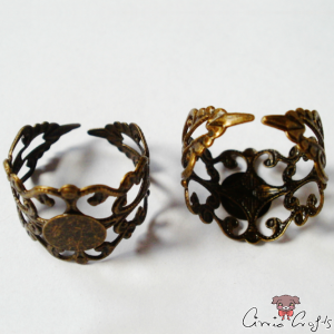 Filigree ring base / antique bronze colored