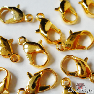 Lobster claw clasps / gold colored / 12,5mm / 5 pieces