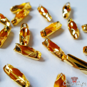 Ball chain connectors / 10 pieces / 2mm inner diameter / gold-colored