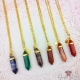 Faceted gemstone / gold colored / different colors / necklaces