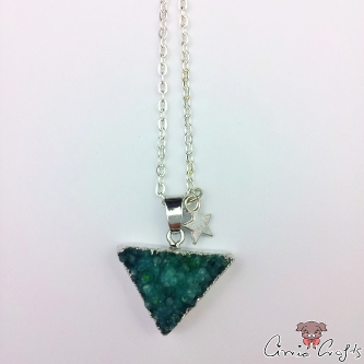Agate with silver colored edge / triangle / silver colored / different colors / necklace