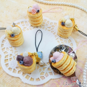 Stack of pancakes with ice cream / different colors / charms