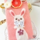 Felt with needle felted rabbit / for iPhone 4/4S / hard plastic / phone case