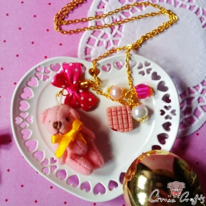 Bear with strawberry fudge / pink / gold-colored / jewelery set (two-parts)