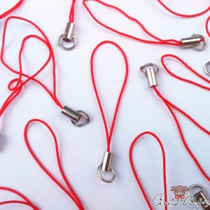 Mobile phone strap / red / silver colored / 5 pieces