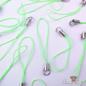 Mobile phone strap / neon green / silver colored / 5 pieces