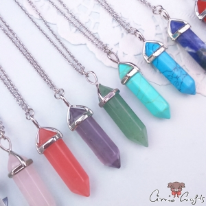 Edged and faceted gemstone / bullet / platinum colored / different colors / necklace