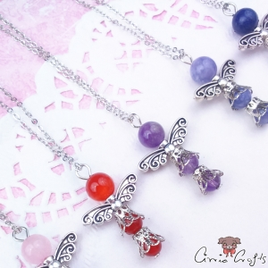 Natural gemstone angel / platinum color / different colors / necklaces