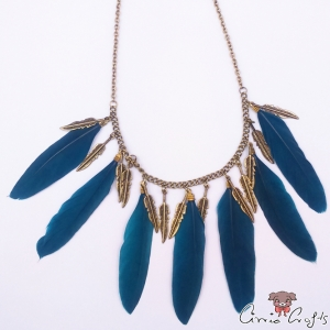 Steelblue feathers with leaf charms / bib necklace / antique bronze colored
