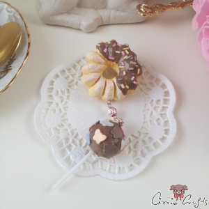 Cruller donut and cake pop / silver colored / pin