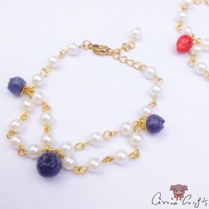 Armkette mit Früchten und Perlen / Verschiedene Varianten / Goldfarbend
