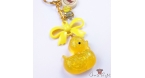 Yellow duck with glitter / gold-colored / keychain