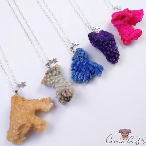 Natürliche Koralle / Silberfarbend / Verschiedene Varianten / Halskette
