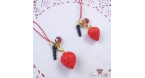 Strawberry with a red bead / different colors / charms & dust plugs