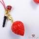 Erdbeere mit Perle / Goldfarbend / Anhänger & Dust Plug