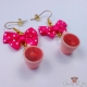 Cups with strawberry tea / gold colored / earring hooks