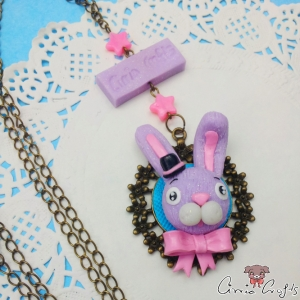 Cabochon setting with a bunny / antique bronze colored / necklace