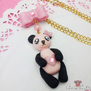 Glittering panda / gold colored / necklace