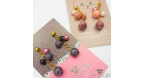 Blueberries with beads / gold colored / different colors / ear studs