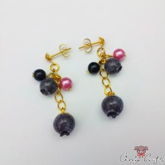 Blaubeeren mit Perlen / Goldfarbend / Verschiedene Farben / Ohrstecker