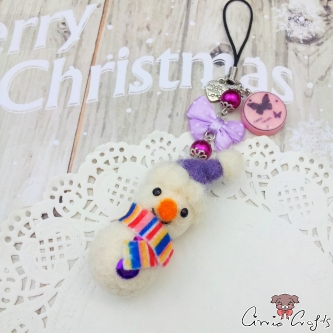 Snowman with a purple christmas hat / silver colored / charm