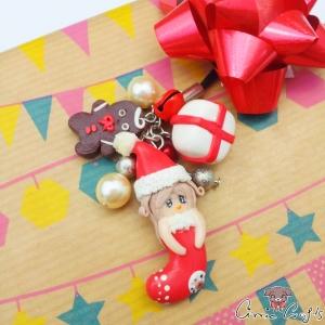 Mädchen in Weihnachtssocke / Silberfarbend / Anhänger