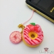 Strawberry donut / gold colored / charm