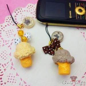Eiscreme und Schleife / Goldfarbend / Verschiedene Farben / Anhänger