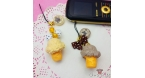 Ice cream and ribbon bow / gold colored / different colors / charm