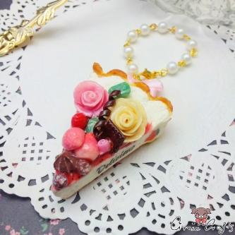 Kuchen Mit Früchten Und Rosen / Goldfarbend / Taschenanhänger