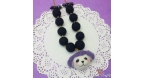 Felted poodle with black felt beads / gold colored / necklace