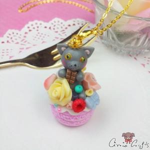 Dekorierter Donut mit einer Katze / Goldfarbend / Halskette