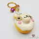Alpaca shaped donut / gold colored / keychain